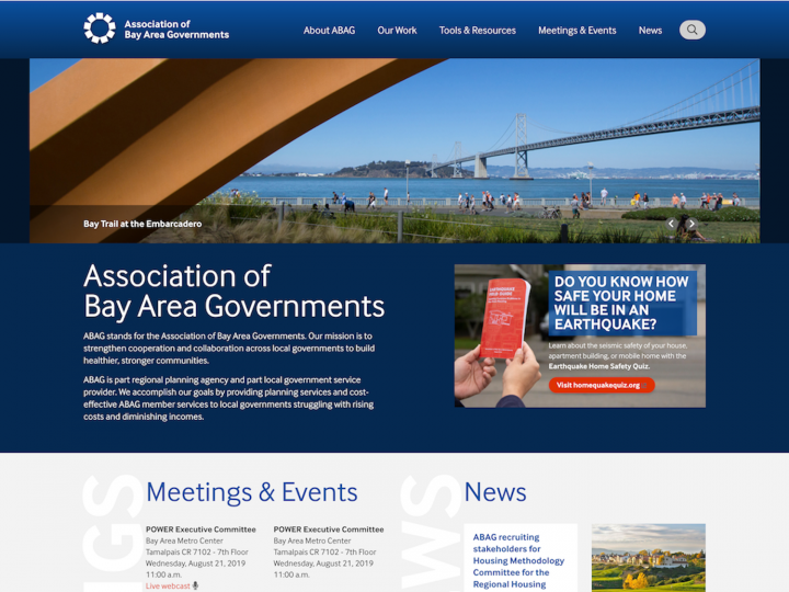 Screenshot of the desktop version of the ABAG website.