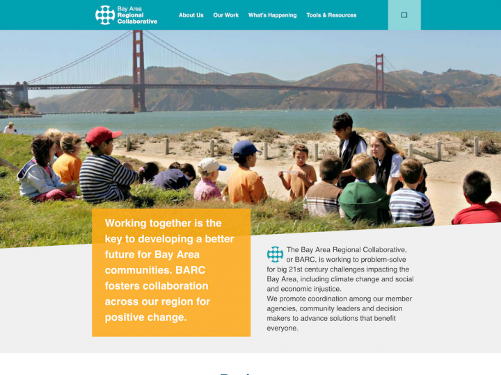 Screenshot of Bay Area Regional Collaborative home page