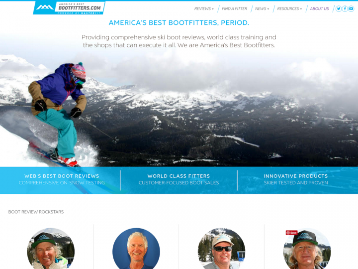 America's Best Bootfitters Website Screenshot