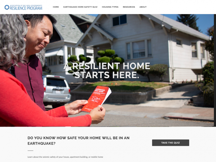 Screenshot of Earthquake Housing Safety home page