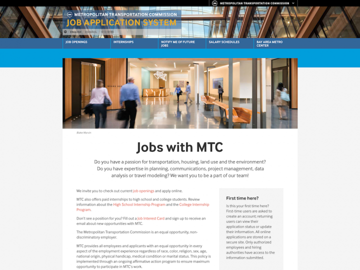 Screenshot of the MTC Jobs home page