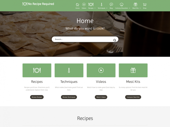 Screenshot of No Recipe Required home page