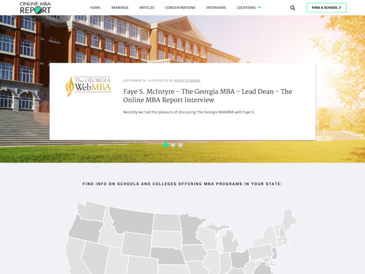 Screenshot of Online MBA Report home page